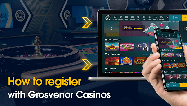 How to register with Grosvenor Casinos message next to a laptop and smartphone
